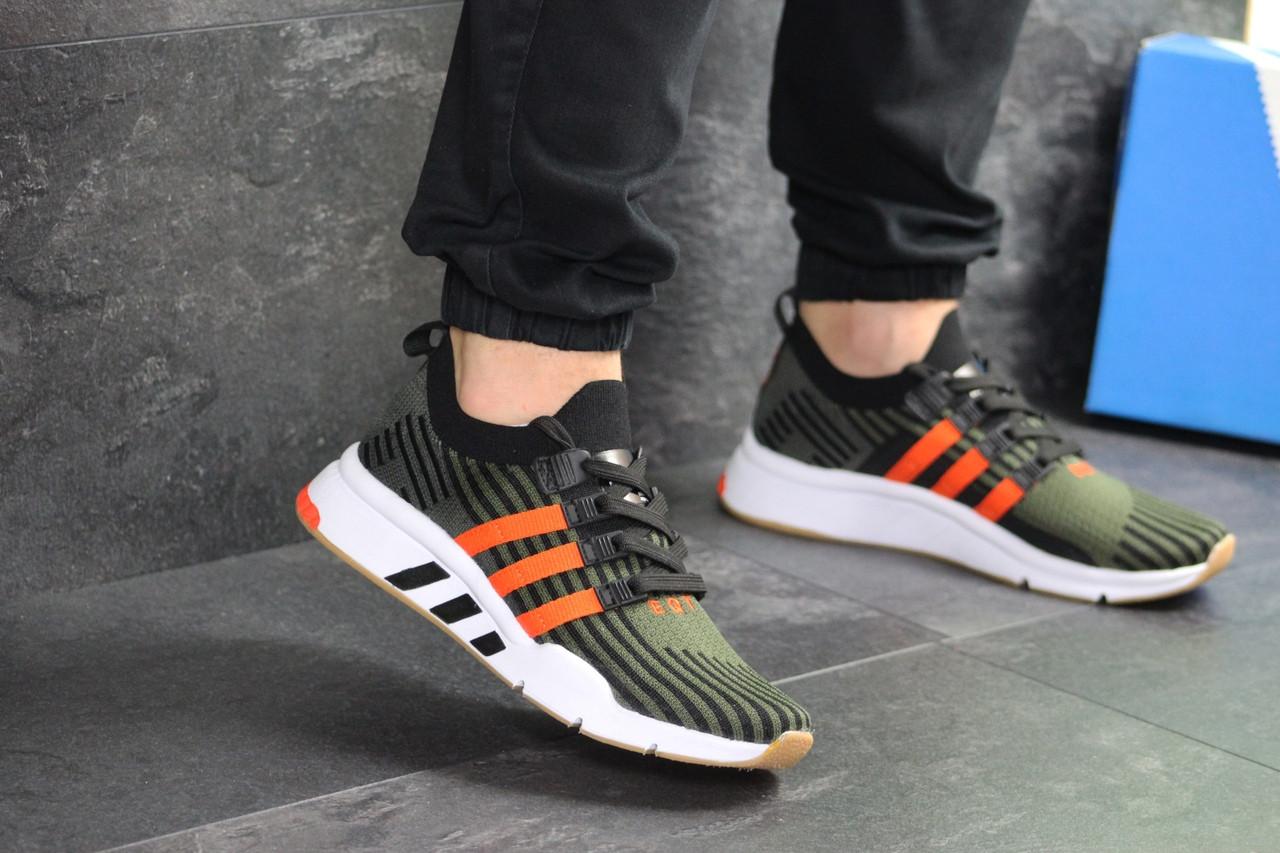 Мужские кроссовки Adidas Equipment adv 91-18 (темно-зеленые с оранжевым)