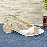 Женские кожаные босоножки на невысоком устойчивом каблуке от производителя, фото 2