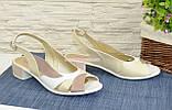 Женские кожаные босоножки на невысоком устойчивом каблуке от производителя, фото 3