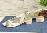 Женские кожаные босоножки на невысоком устойчивом каблуке от производителя, фото 4