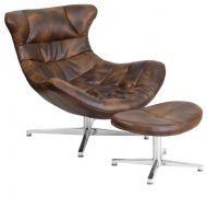 Кресло Мексика с оттоманкой, экокожа коричневая, нержавеющая сталь