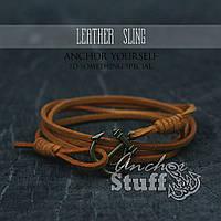 Браслет з якорем Anchorstuff - Leather Sling Orange