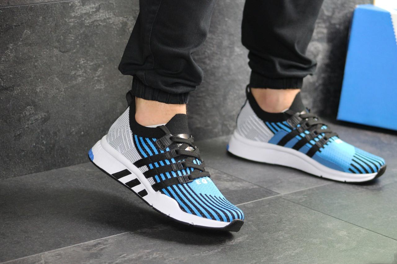 Мужские кроссовки Adidas Equipment adv 91-18 (голубые со светло-серым)