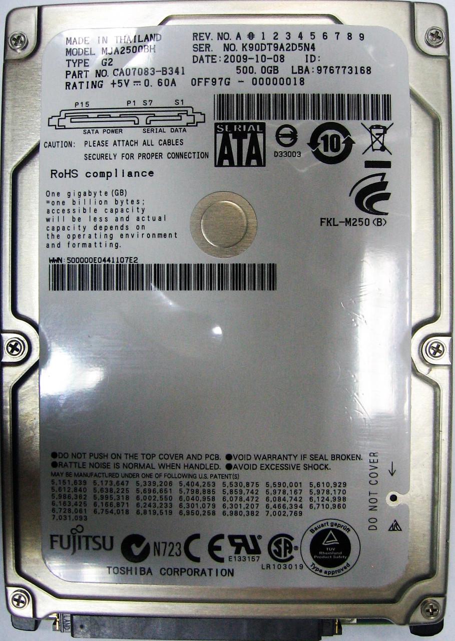 Жесткий диск HDD 500GB 5400rpm 8MB SATA II 2.5 Fujitsu MJA2500BH K90DT9A2D5N4