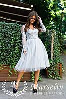 Женское праздничное платье с кружевом