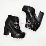 """Ботинки стильные женские демисезонные на тракторной подошве, кожа """"крокодил""""., фото 4"""