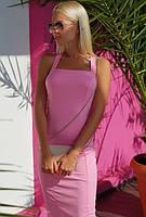 Платье вечернее летнее ( выпускное ) футляр карандаш приталенное по фигуре с открытыми плечами Цвет : Розовый Размер : 42 44 46 Материал : Дайвинг