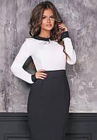 Платье двухцветное карандаш приталенное по фигуре вечернее ( выпускное ) с рукавами миди до колена Цвет : Черный Белый Размер : 42 44 46 Материал :