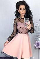 235081e866c Платье вечернее расклешенное ( клеш ) с прозрачным декольте с рукавами  сетка ( выпускное ) Цвет
