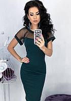 Платье вечернее ( выпускное ) футляр карандаш приталенное по фигуре с открытой спиной с прозрачным декольте Цвет : Бутылка Размер : 42 44 46 48