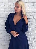 Платье - рубашка с поясом на кулиске миди до колена свободного кроя на пуговицах с рукавами повседневное Цвет : Темно синий Размер : 42 44 46 48