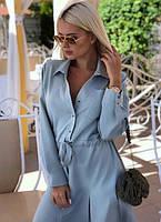 Платье - рубашка с поясом на кулиске миди до колена свободного кроя на пуговицах с рукавами повседневное Цвет : Фисташковый серый Размер : 42 44 46 48