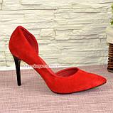 Женские замшевые красные туфли на шпильке, фото 2