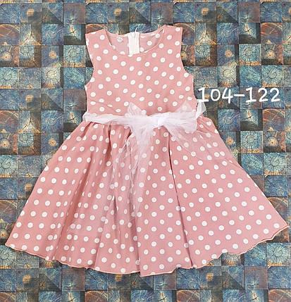 Платье в горошек для девочки Фея 104-122 пудра, фото 2