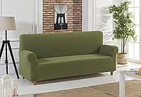 Универсальный чехол на диван оливкового цвета