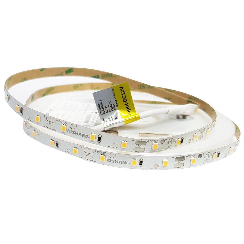 Світлодіодна стрічка RISHANG 2835/60 6Вт 12В IP20 8мм Теплий білий 3000К CRI80