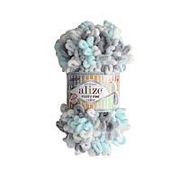 Пряжа с петельками Alize Puffy Fine Color 5939 (Пуффи Файн Колор Ализе) для вязания без спиц руками