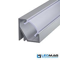 Комплект профиль+крышка для LED ленты угловой LPU17 алюминиевый