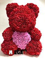 Мишка из роз Teddy Rose красный с розовым сердцем (40см) в коробке подарок