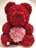 Мишка из роз Teddy Rose красный с сердцем (40см) в коробке подарок