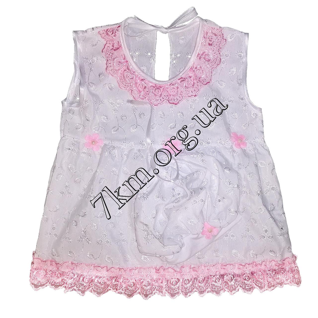 Платье с беретиком прошва 9-12-18 месяцев Оптом 220500-1 розовое
