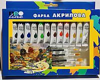 Краска акриловая 12 цветов Neo line + 4 кисти и палитра