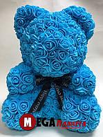 Мишка из роз Teddy Rose голубой с баном (40см) в коробке подарок