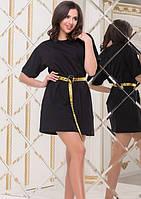 Платье женское с поясом весеннее черное короткое 42 размер 44 размер 46 размер Цвет: Черный  k-50930