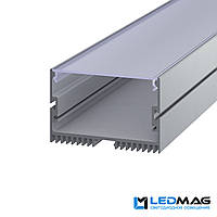 Светодиодный профиль накладной LS-70 алюминиевый с матовой крышкой (2м, 3м, 5м) 73x47 мм