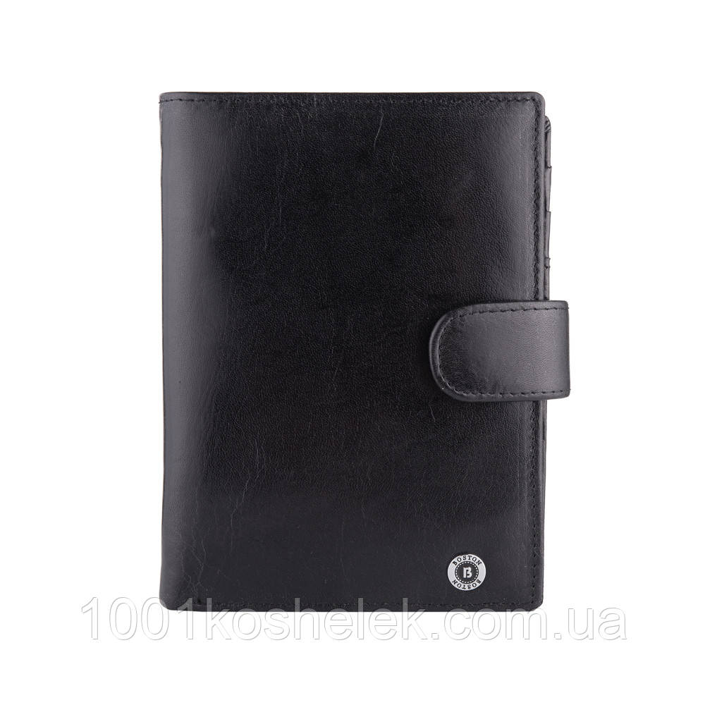 Мужской кожаный кошелек Boston B5-027 Black Глянец