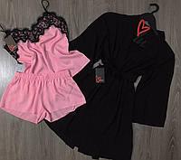Роскошный домашний комплект: розовая пижама и черный халат из хлопка