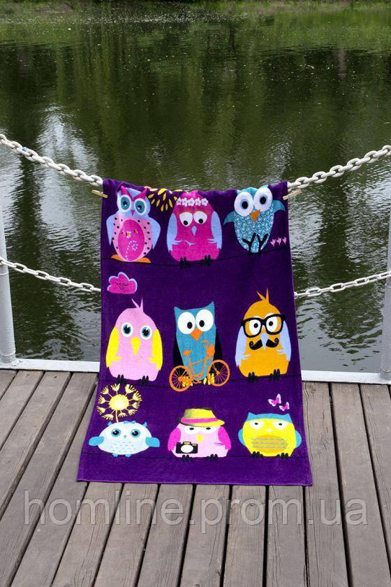 Велюровое полотенце Lotus пляжное Owls Family 75*150