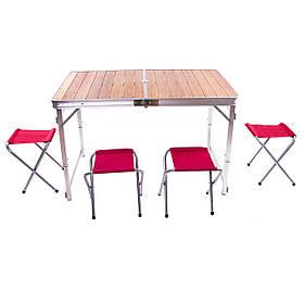Стол туристический бамбуковый складной+ 4 стула 110*70*70 (HX-9001)