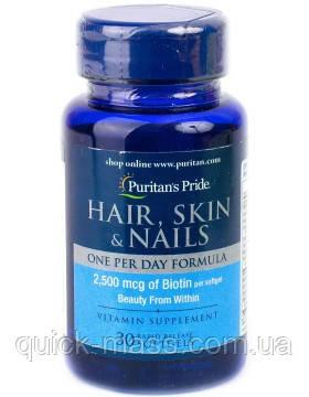 Вітаміни Puritan's Pride Hair, Skin & Nails One Per Day Formula 30caps