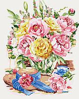 Картина по номерам Пионы в нежных тонах (KH2222) 40 х 50 см Идейка