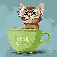 Раскраска для взрослых Любопытный котенок (KHO4057) 40 х 40 см Идейка [Без коробки]
