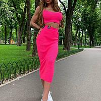 a78d445cc8c Костюм Oliagarho стильная майка топ и облегающая юбка миди яркие сочные  цвета Ddor1053