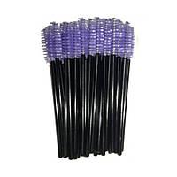 Щеточки для расчесывания ресниц сиреневые с черной ручкой, 50 шт. в упаковке