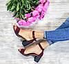 Босоножки на небольшом каблуке из натуральной замши бордового цвета ELEGANTE MARSALA SUEDE, фото 5