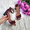 Босоножки на небольшом каблуке из натуральной замши бордового цвета ELEGANTE MARSALA SUEDE, фото 4