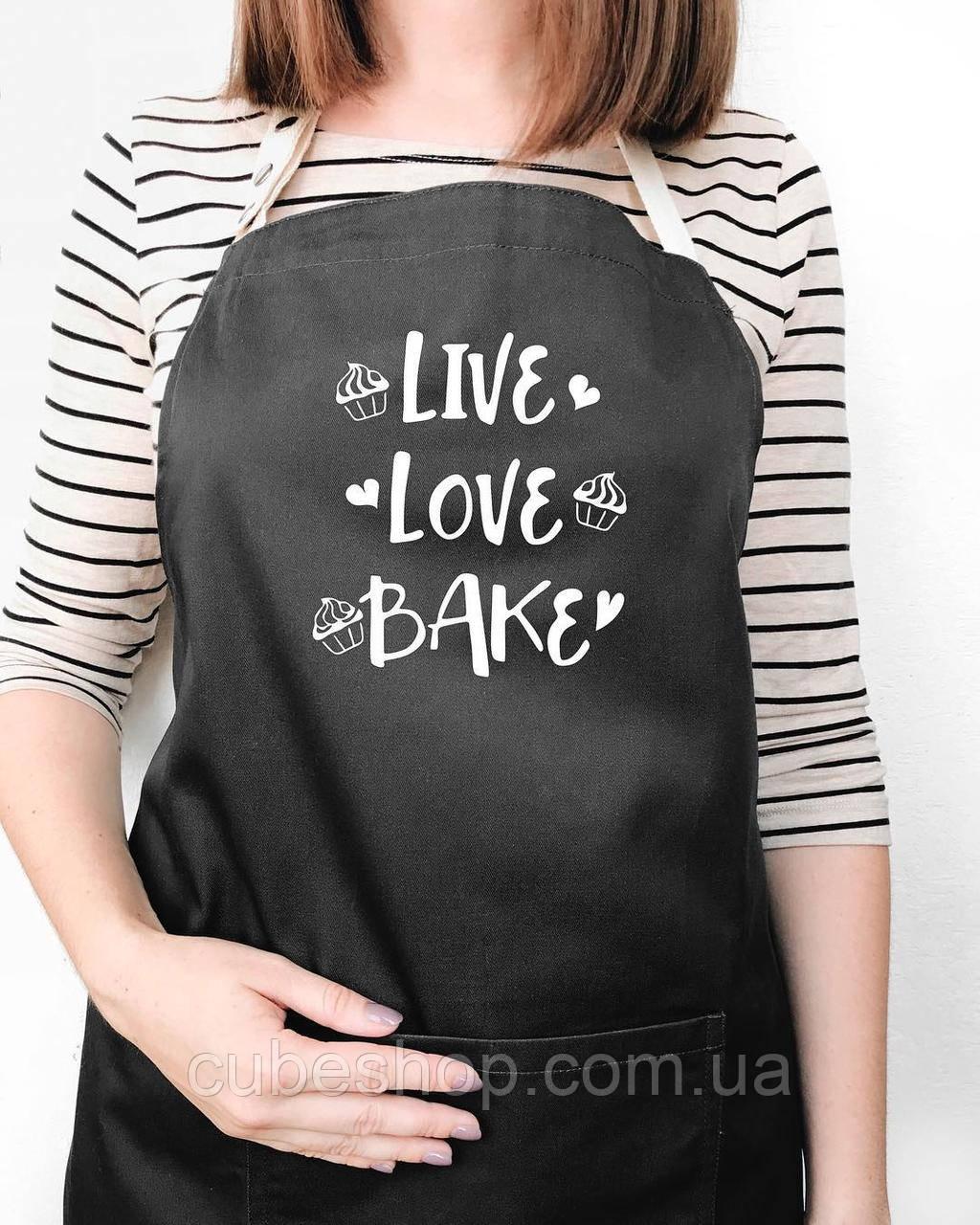 """Фартук """"Live. Love. Bake"""" черный"""