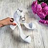 Босоножки на небольшом каблуке из натуральной кожи белого цвета ELEGANTE WHITE LEATHER, фото 2
