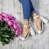 Босоножки на небольшом каблуке из натуральной кожи белого цвета ELEGANTE WHITE LEATHER, фото 5