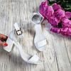 Босоножки на небольшом каблуке из натуральной кожи белого цвета ELEGANTE WHITE LEATHER, фото 4