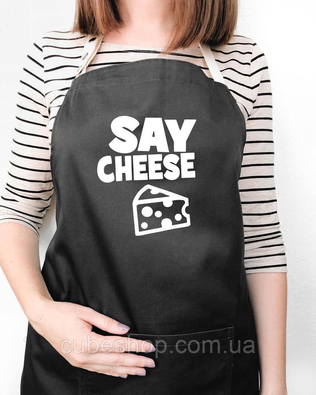 """Фартук """"Say cheese"""" черный"""