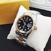 Женские наручные копия часы Rolex perpetual date just серебро золото с черным циферблатом