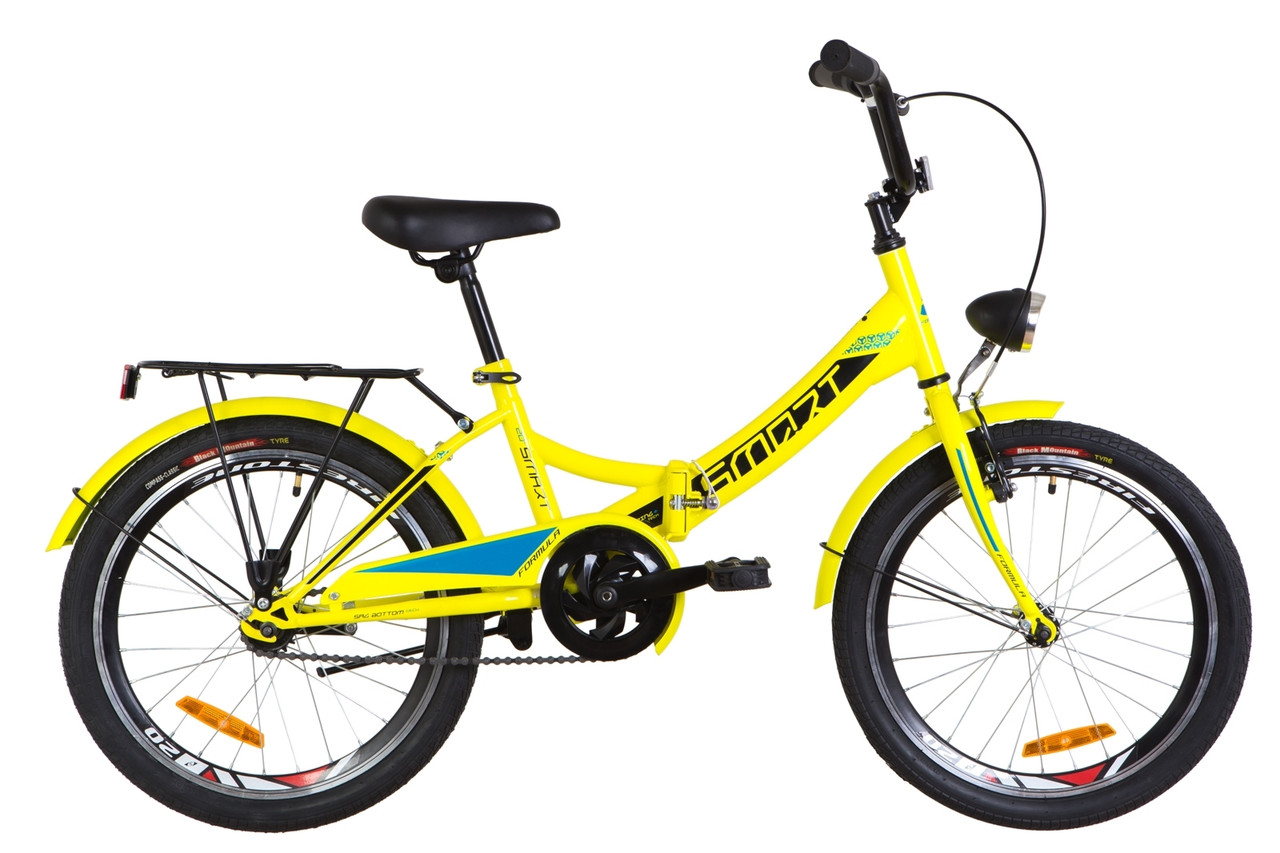 """Складной подростковый велосипед 20"""" Formula SMART с фонарём 2019 (желтый)"""