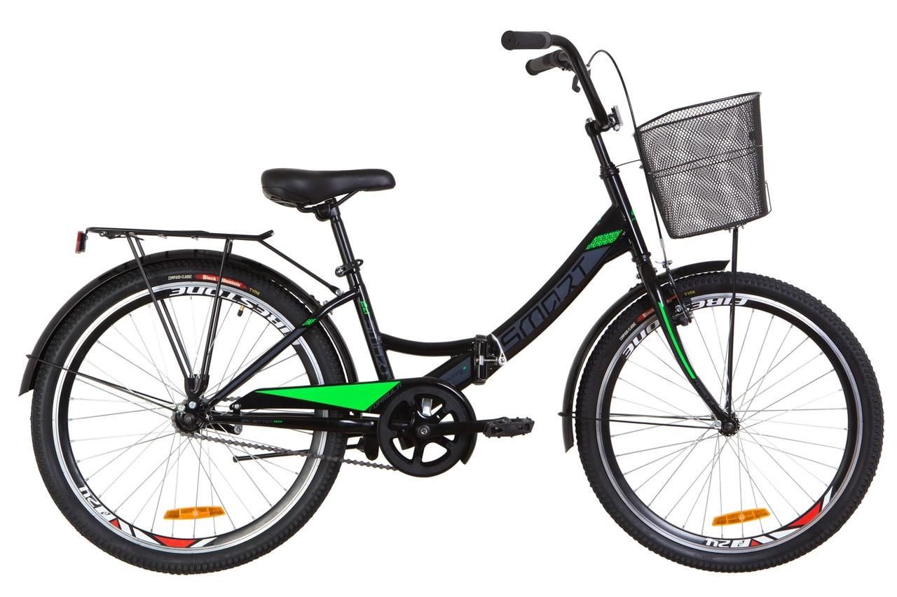 """Складной велосипед 24"""" Formula SMART с корзиной 2019 (черно-салатный)"""