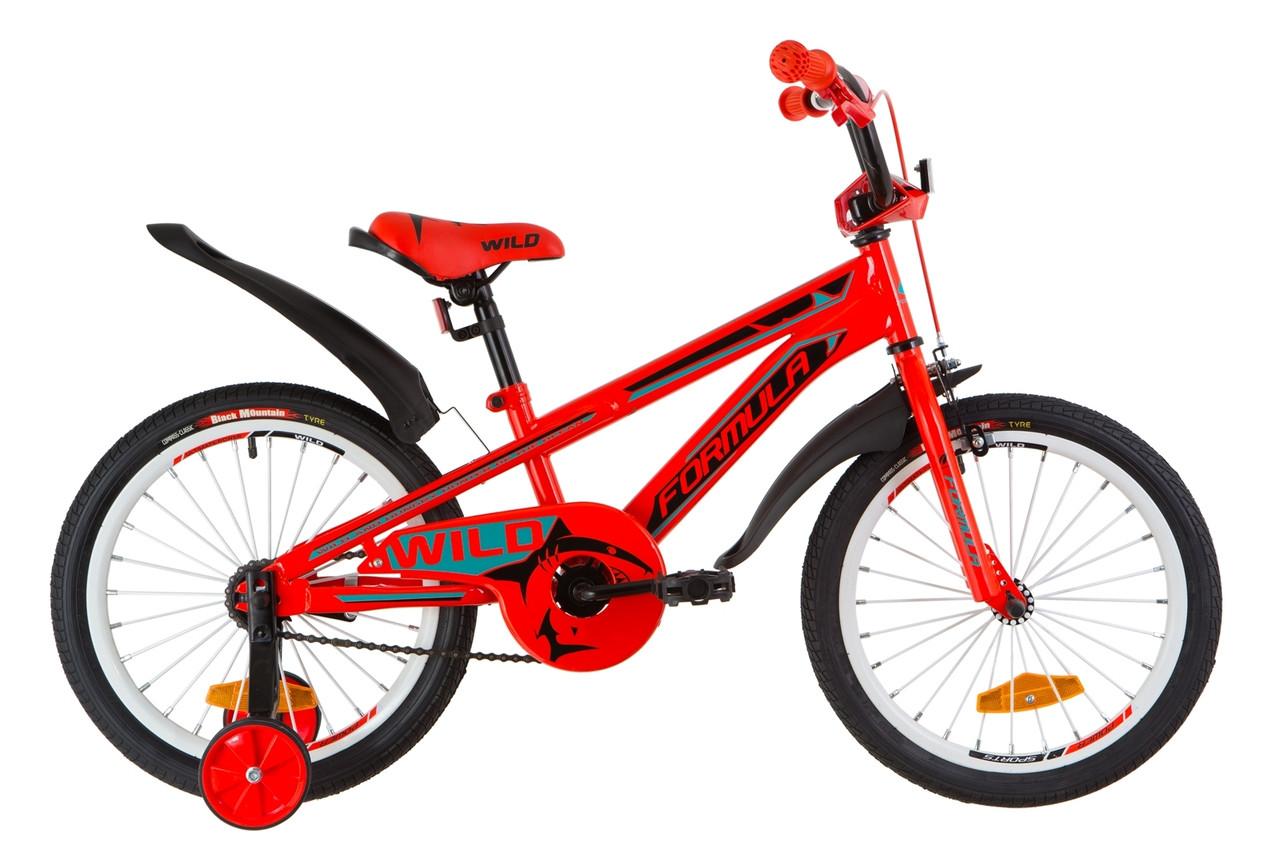 """Детский велосипед 18"""" Formula WILD 2019 (красно-бирюзовый)"""