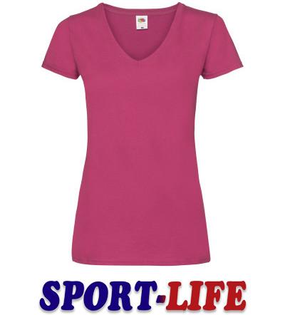 Женская футболка с V-образным вырезом под печать и принт FRUIT OF THE LOOM V-NECK T Розовая